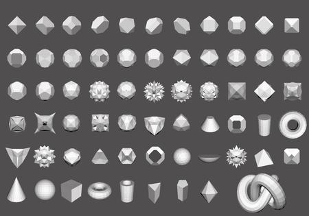 geosphere: Set of 64 geometric shapes. Polygon. Illustration