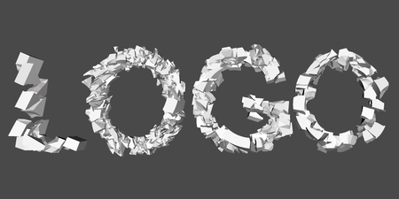 3d animation: Vector illustration of a collapsing logo word. 3D. Animation destruction.