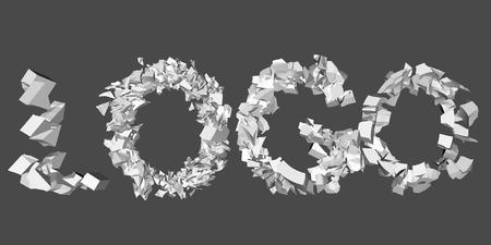 destruction: Vector illustration of a collapsing logo word. 3D. Animation destruction.