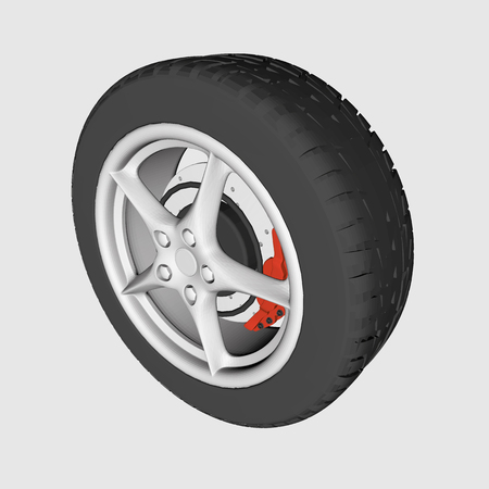 rotor: Realistic car wheel. Tire, disk, brake rotor. Vector illustration of 3D polygonal wheel.