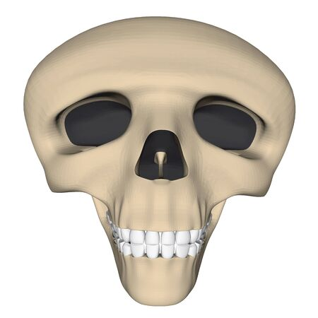 Deformed human skull in cartoon style. 3D. Vector illustration.