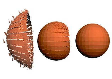 The destruction of the sphere in three stages. Set of spheres.