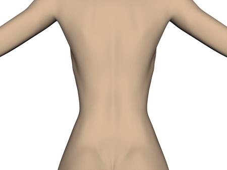 De rug van een vrouw met een slanke illustratie van het taillebeeld