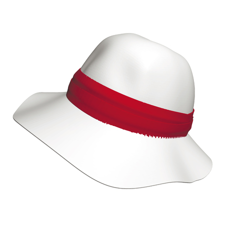 Woman's hat with a red armband illustration Illustration