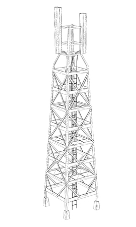 High-altitude communications tower. The outline of the communications tower on a white background. 3D. Isometry. Vector illustration. The tower provides all communication.