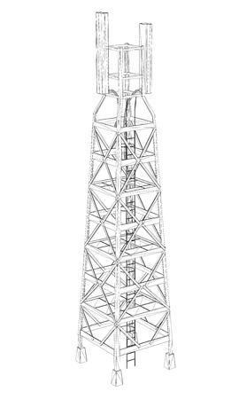 Wieża komunikacyjna na dużej wysokości. Zarys wieży komunikacyjnej na białym tle. 3D. Izometria. Ilustracji wektorowych. Wieża zapewnia całą komunikację.
