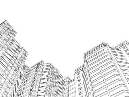 Background with the outlines of residential buildings. Template with houses. Inclined perspective. Black and white background with houses made of lines. Vector illustration. 3D.