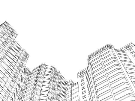 Contexte avec les contours des bâtiments résidentiels. Modèle avec maisons. Perspective inclinée. Fond noir et blanc avec des maisons faites de lignes. Illustration vectorielle. 3D.