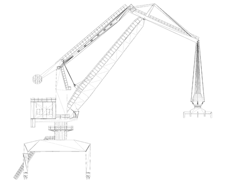 Outlines of a crane on a white background. Lifting crane side view 3d. Vector illustration.