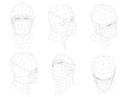 Polygonal head doctor in mask. A set of six kinds of doctor's head 3D. Various types of head arrangement, front, side, isometric, rear, top. Vector illustration. Conceptual background from outlines. Illustration