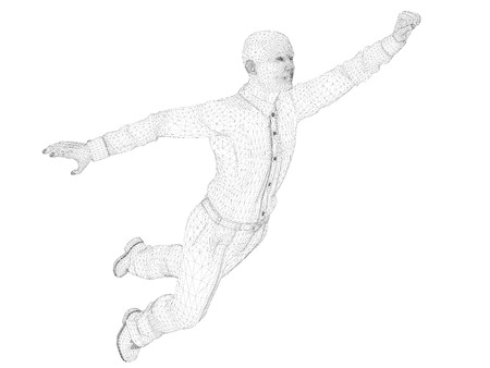A man in a shirt and trousers is flying. Polygonal 3d man. Male outline isolated on white background. Vector illustration.