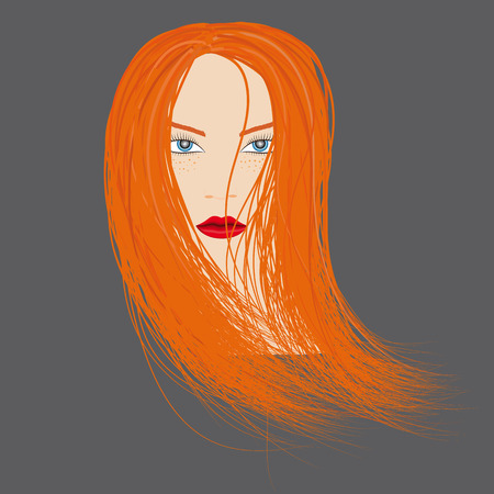 The head of a red-haired girl. Head with bright red wavy hair and red lips. Vector illustration.