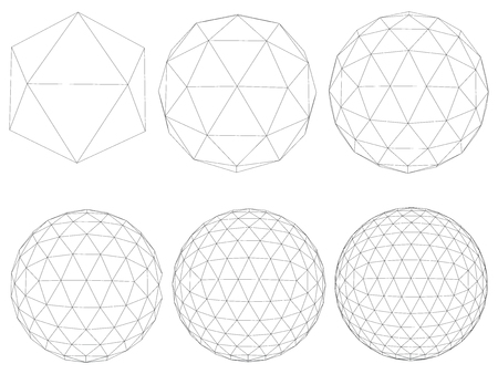 A set with spheres transforming from a simple form to a complex form. Sequence of geometric shapes. Vector illustration.