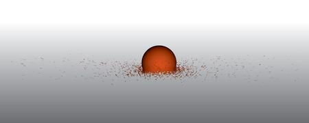 Broken sphere into many fragments 3D. Vector illustration.
