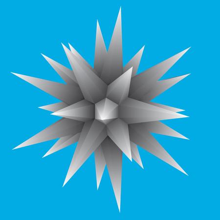 Geometrical figure with sharp ends. 3D. Vector illustration. Illustration