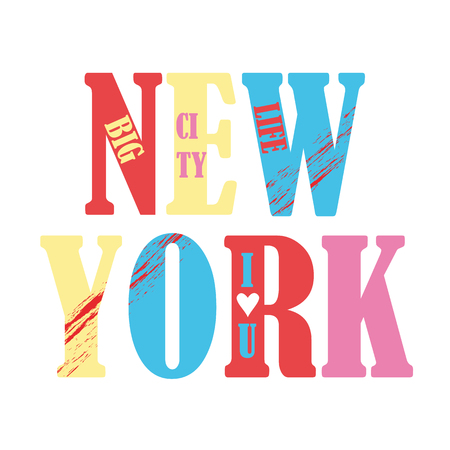 Multicolored print with the inscription New York. Vector illustration. Vectores