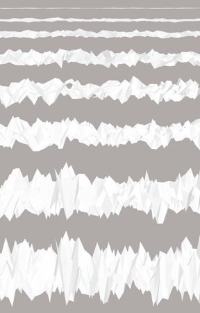 Set with a sequence of noise amplification. Polygonal irregularities. 3D. Vector illustration.
