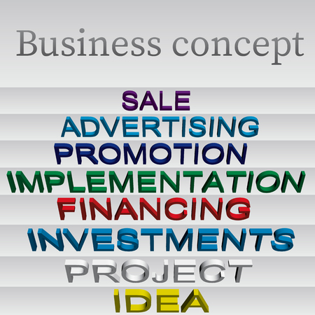 Business concept. The sequence of actions when creating and promoting a business. The text is isometric. Vector illustration.