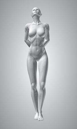 Una ragazza poligonale. La ragazza sta guardando in alto, le mani dietro la schiena. Illustrazione vettoriale.