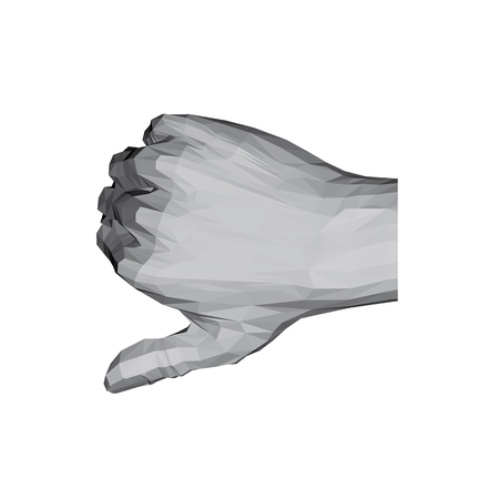 3D polygonal hand. The thumb of the hand points downward. Disapproval. Vector illustration.