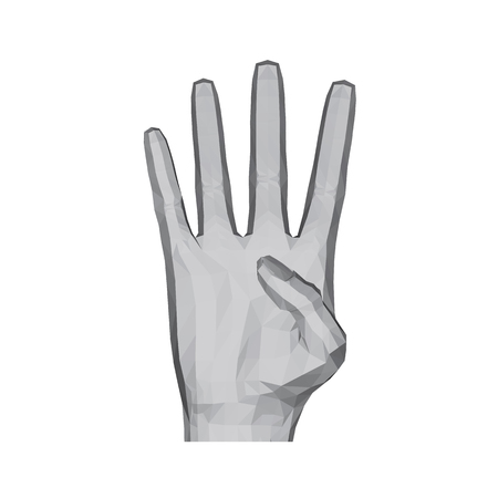3D polygonal hand. The hand shows four fingers. Vector illustration.