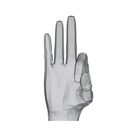 3D polygonal hand. The hand shows three fingers. Vector illustration.