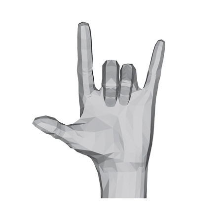3D polygonal hand. The hand shows two fingers. Rock. Vector illustration. Ilustrace