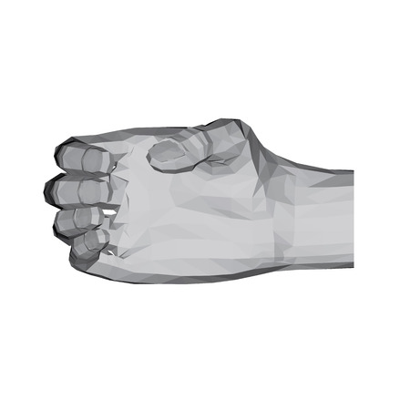 3D polygonal hand. The hand holds an oval object. Vector illustration. Ilustrace