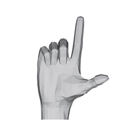 3D polygonal hand. The hand shows two fingers. Vector illustration.