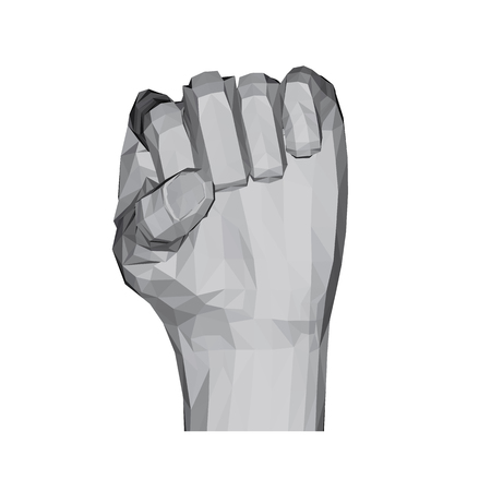 3D polygonal hand. Compressed fist pointing upwards. Vector illustration.