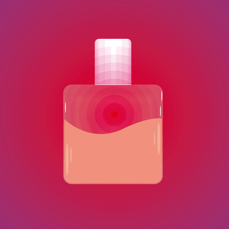 Bottle of perfume. Vector illustration. Bottle with rose liquid.