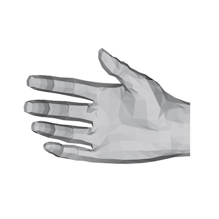 3D polygonal hand. A relaxed hand ready for a handshake. Vector illustration.