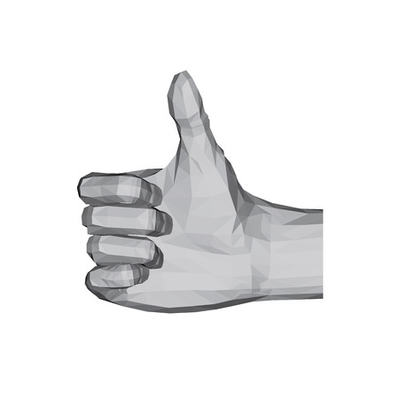3D polygonal hand. Thumbs up. OK. Vector illustration. Illustration
