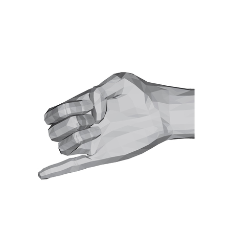 3D polygonal hand. Compressed fist of the hand with a bent little finger. Vector illustration. Ilustrace