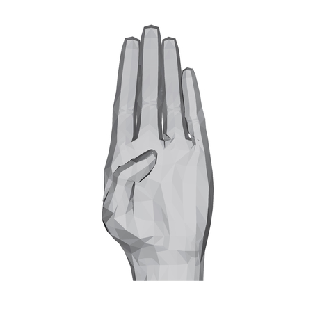 3D polygonal hand. The hand shows the palm with the fingers tightly shifted. Vector illustration.