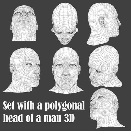 Set with a polygonal head of a man 3D. The head of a man from different angles. Vector illustration.