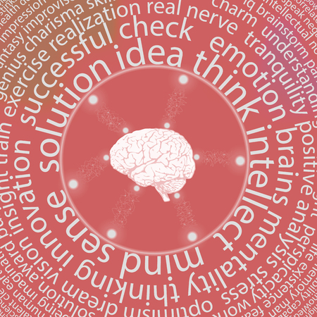 Conceptual background with a human brain. The human brain is surrounded by a multitude of words. Vector illustration of a brain.
