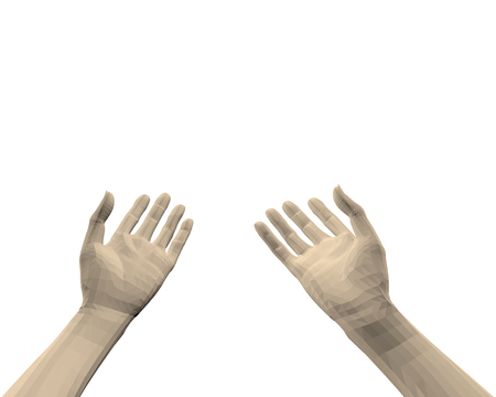 Hands of a man. Hands from the first person. Game interface 3D. human hands palm-to-face. Vector illustration. Illustration