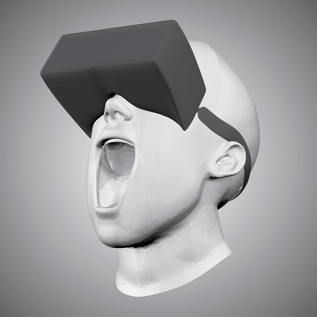 The head of a man in virtual reality glasses. A man screams with his mouth open. 3D. Virtual reality in action. Vector illustration.