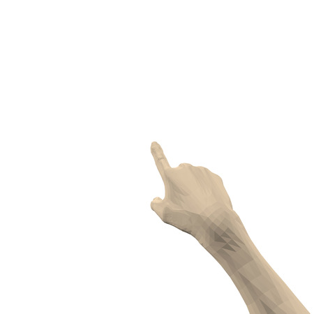 The human hand points with the finger forward. 3D. A man's hand on a white background, isolated. A finger presses the button. Vector illustration.
