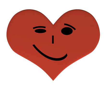 表情を持つ心。満足のいく笑顔の心。3D。表現を持つ心臓のベクターイラスト。