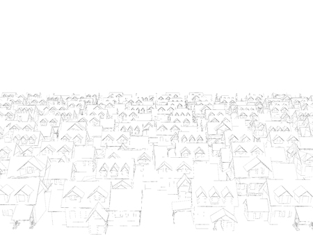 Background with wireframe houses. Many houses consisting of lines. Private houses. Vector illustration. 3D.