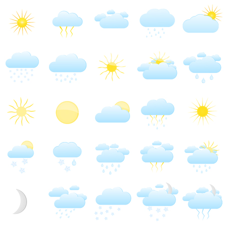 Set with icons for weather forecasting. Clouds and sun, varied weather. Vector illustration. Vektoros illusztráció