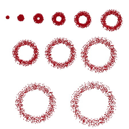 Animation with increasing rings of 3D squares. Vector illustration. A sequence with circles consisting of squares. Set of rings from cubes.