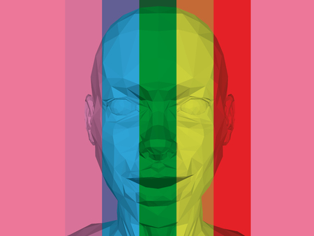 The polygonal head of a man with multi-colored stripes. 3D. Head with a small smile and a slightly open mouth. Gay. Vector illustration. 向量圖像