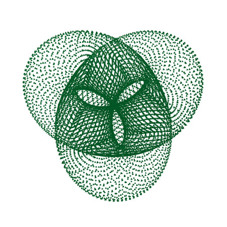 Geometric figure torus knot. Torus knot consists of a set of diamonds 3D. Vector illustration.