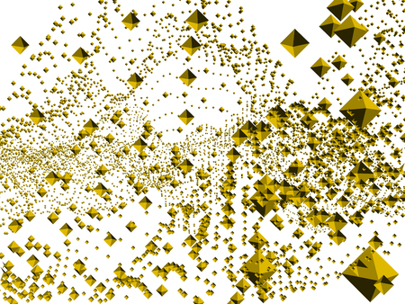 Background with many rhombuses. Diamonds close and far away. Yellow rhombuses. Vector illustration.