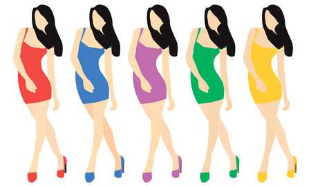 Girl in different dresses. The girl in shoes and short dress in different colors. Flat style. The girl without a face. Vector illustration.
