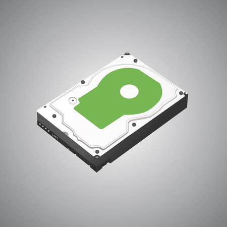 The hard disk is isometric. 3D. Vector illustration.