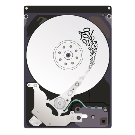 The process of writing information to the hard disk. Vector illustration. 矢量图片
